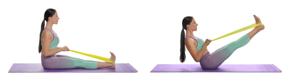 Woman doing sportive exercises with fitness elastic band on white background, collage. Banner design