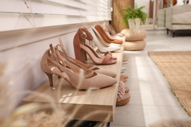 Collection of beautiful shoes in dressing room