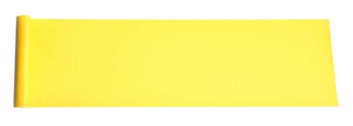 Yellow camping mat isolated on white, top view. Banner design