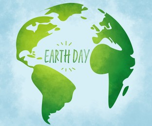 Happy Earth day. Illustration of planet on light blue background