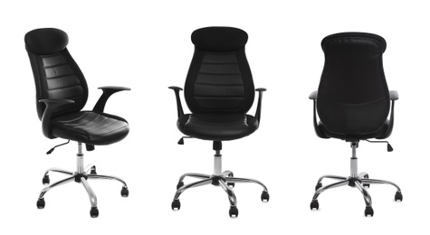 Set with black office chairs with leather seats on white background. Banner design