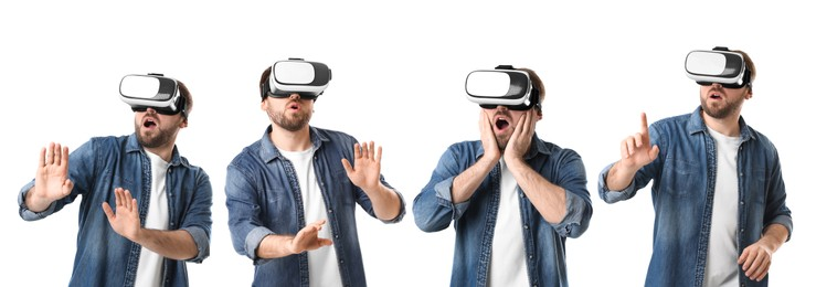 Young man using virtual reality headset on white background, collage. Banner design