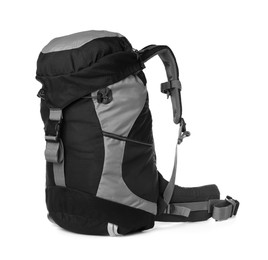 Hiking backpack isolated on white. Camping tourism