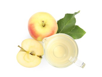 Natural apple vinegar and fresh fruits on white background, top view