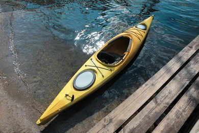 Modern kayak on river, above view. Summer camp activity