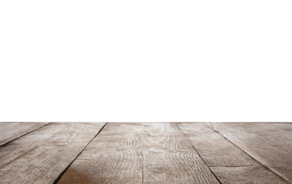 Empty wooden surface isolated on white. Mockup for design