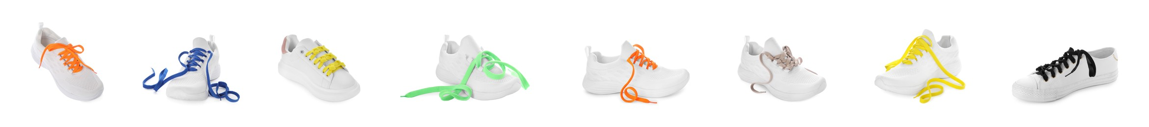 Set of different stylish shoes with laces on white background. Banner design