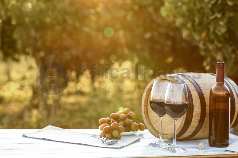 Composition with barrel of wine and snacks on table at vineyard, space for text