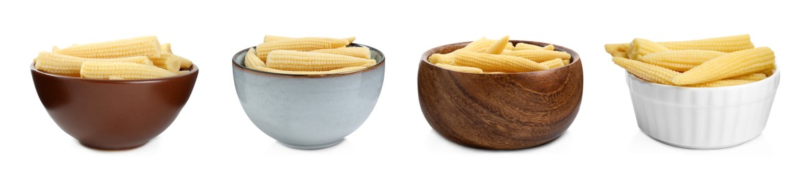 Set with tasty baby corn cobs on white background. Banner design