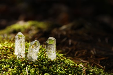 Clear quartz crystals on green moss in forest. Space for text