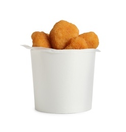 Delicious fried chicken nuggets isolated on white