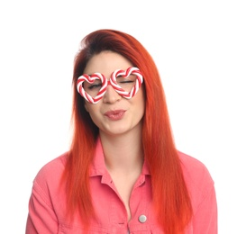 Young woman with bright dyed hair on white background