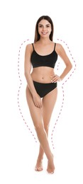 Young slim woman in underwear after weight loss on white background. Healthy diet