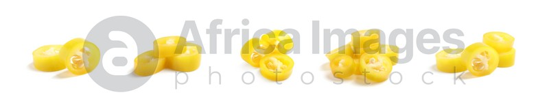 Set with pieces of ripe yellow chili peppers on white background. Banner design