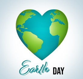 Happy Earth day. Planet in shape of heart on light background, illustration