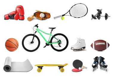 Set with different sports equipment on white background. Active lifestyle