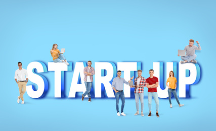 Group of young people and phrase START UP on blue background