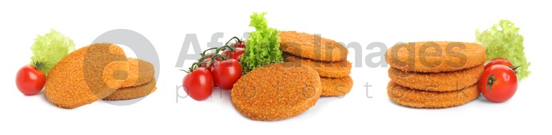 Set with tasty breaded cutlets on white background, banner design
