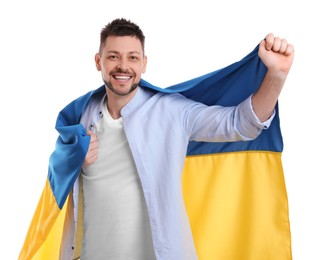 Man with flag of Ukraine on white background