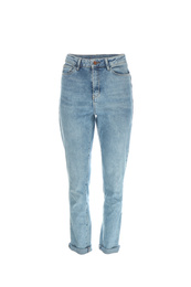 Stylish jeans on mannequin against white background. Women's clothes