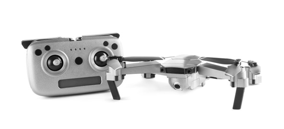 Modern drone with controller isolated on white