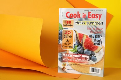 Modern culinary magazine on bright background. Space for text