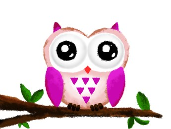 Drawing of cute owl on tree branch. Child art