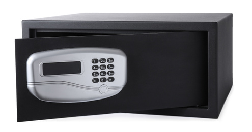 Open black steel safe with electronic lock isolated on white