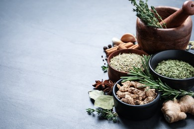 Composition with different natural spices and herbs on grey table, space for text