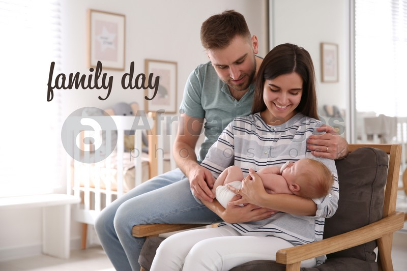 Happy couple with their newborn baby at home. Happy Family Day