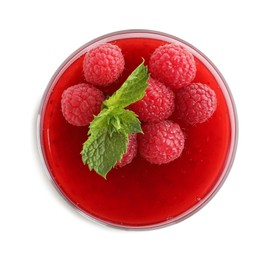 Delicious raspberry jelly with fresh berries and mint isolated on white, top view