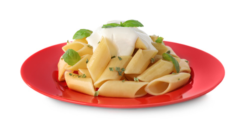 Tasty pasta with sauce and basil isolated on white