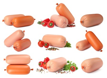 Set with tasty boiled sausages on white background