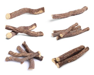 Set with dried sticks of liquorice root on white background