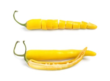Cut and whole ripe yellow chili peppers on white background, collage