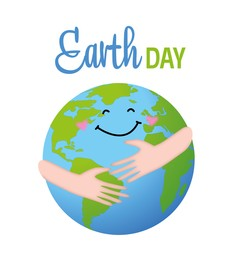 Happy Earth day. Human hugging cheerful planet on white background, illustration
