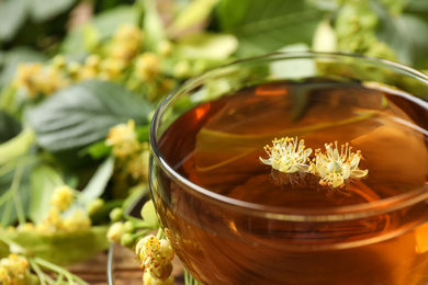 Cup of tea with linden blossom on blurred background, closeup