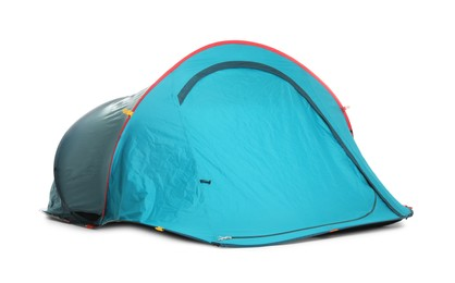 Light blue camping tent on white background