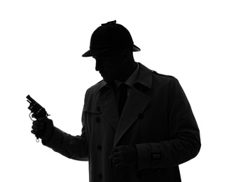 Old fashioned detective with revolver on white background