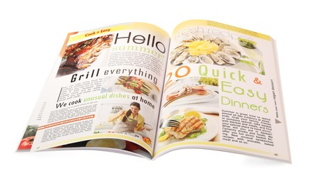 Modern printed culinary magazine isolated on white
