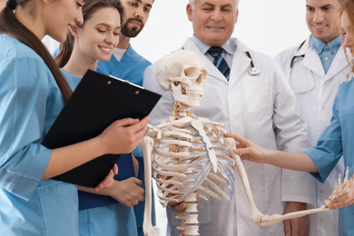 Professional orthopedist with human skeleton model teaching medical students in clinic