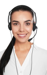 Beautiful young consulting manager with headset on white background