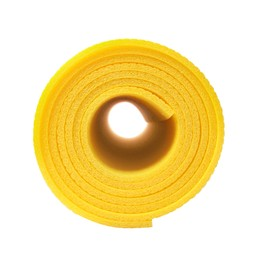 Rolled yellow camping mat isolated on white