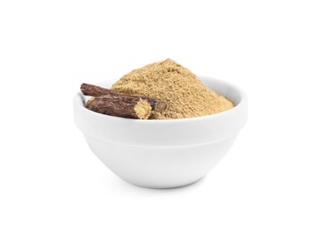 Dried sticks of liquorice root and powder in bowl on white background