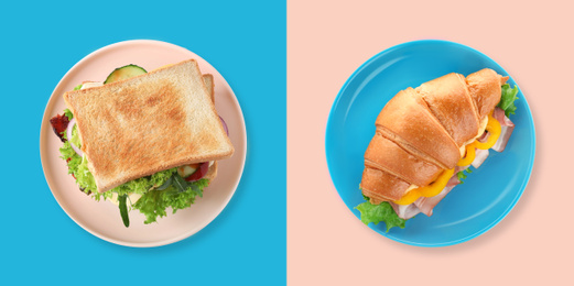 Yummy sandwich and croissant on color background, top view