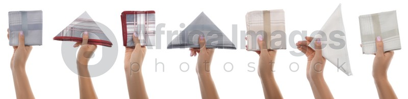 Collage with photos of women holding different handkerchiefs on white background, closeup. Banner design