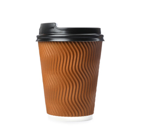 Takeaway paper coffee cup isolated on white