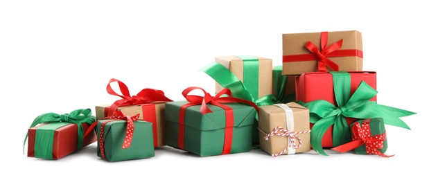Many different Christmas gifts on white background