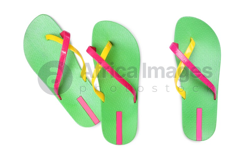 Green flip flops on white background, top view. Collage
