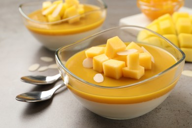 Delicious panna cotta with mango coulis and fresh fruit pieces on grey table